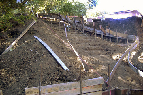 Challenge steep hill needs safe access and new terracing for Steep driveway construction