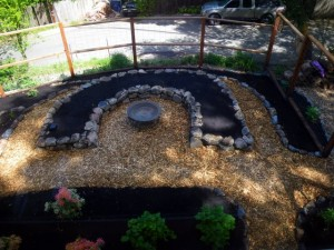 Raised stone bed and bird bath