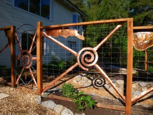 Deer fence with copper art
