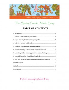 Spring Garden Table of Contents
