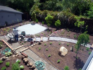 siting paths, sitting area and retaining walls