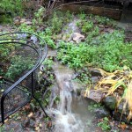 Runoff turns into waterfall