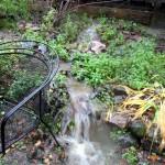 Runoff turns into waterfall