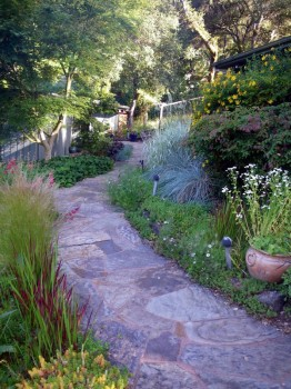 A curved path creates wonder and surprise. You can't see what's around the corner