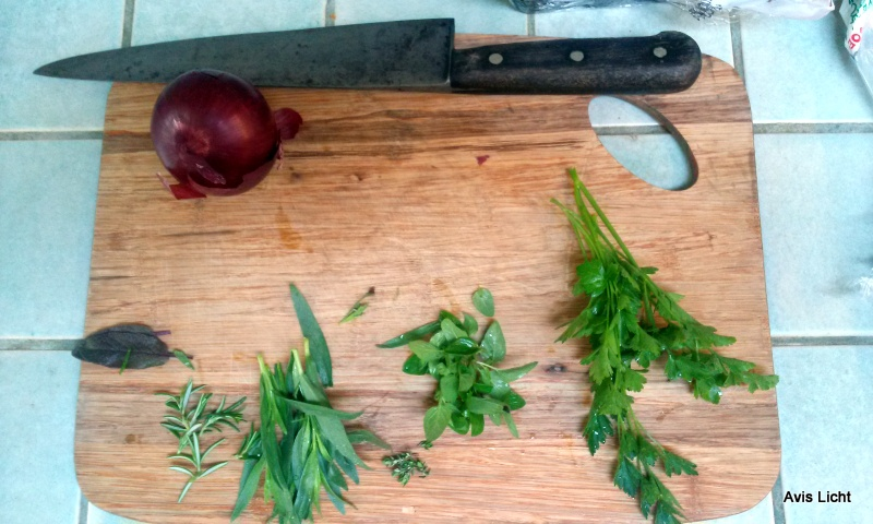 Using fresh herbs from the garden