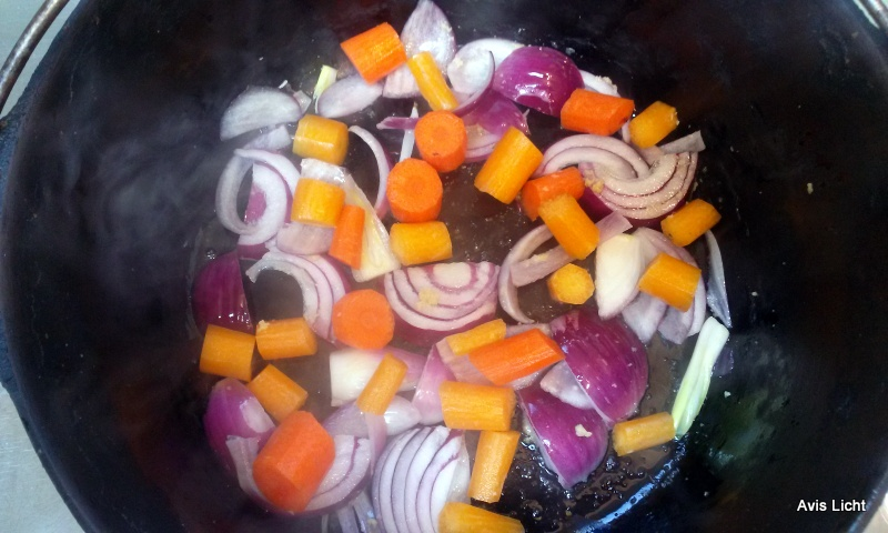 Add clied carrots to the saute.  rich in color and flavor