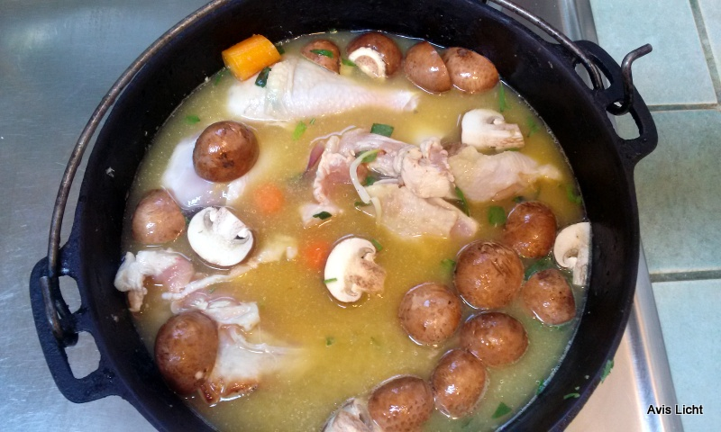 The chicken has been sauteed and then the broth added.